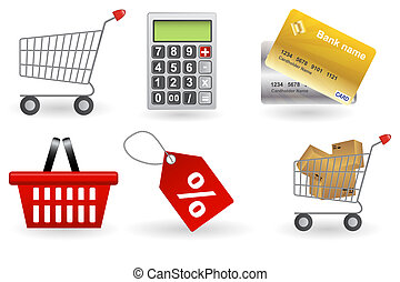 Shopping icons set. Vector illustration