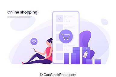shopping, illustration., mobile, marketing, concept., vettore, linea