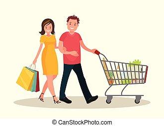 shopping., illustration., vrouw, sale., vector, echtgenoot