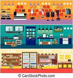 Shopping in a mall concept vector banner. Consumer...