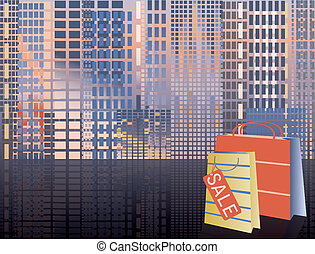 Shopping in city, vector