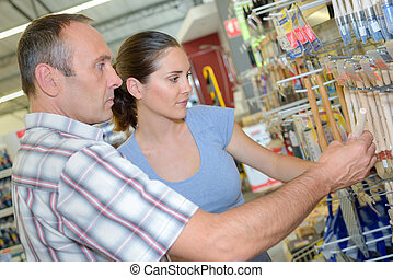 shopping in hardware store