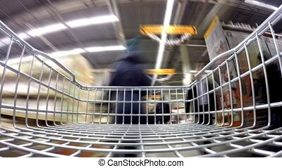 Shopping in hardware store. Time lapse