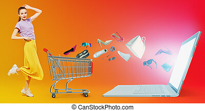 shopping in online store - Shopping concept. Happy modern ...