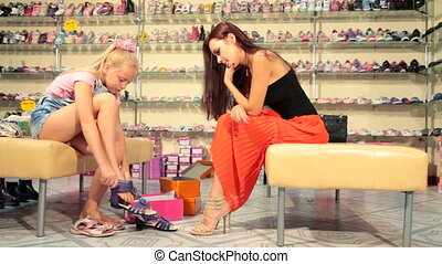 Shopping in Shoe Store