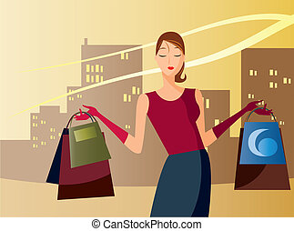 shopping in the afternoon - is a ilustracion of a woman...