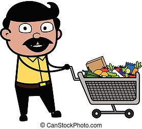 Shopping - Indian Cartoon Man Father Vector Illustration
