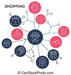 Shopping infographic in circle design. Flat line illustration of e-commerce in round colored shapes. Modern vector illustration of shop and store for web banners.