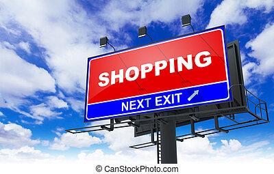 Shopping Inscription on Red Billboard.