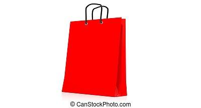 shopping, interpretazione, borsa, fondo, bianco, 3d