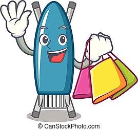 Shopping iron board character cartoon vector illustration