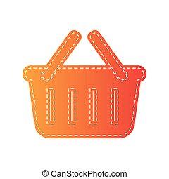 shopping, isolated., segno., cesto, applique, arancia