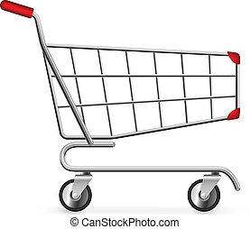 shopping, isolato, carrello, fondo., bianco, lato, vuoto,...