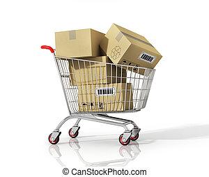 shopping, isolato, carrello, fondo., scatole, bianco