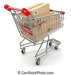 shopping, isolato, carrello, scatole, fondo, bianco