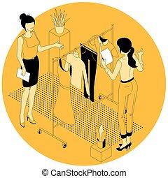 shopping, isometrico, concept., linea