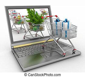 shopping., kerstmis, online