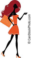 shopping kvinde, abstrakt, isoleret, silhuet, hvid