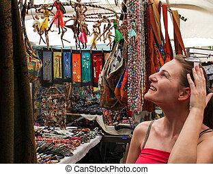 shopping kvinde, hos, marked