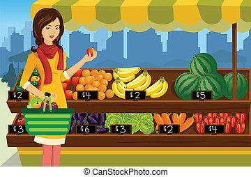 shopping kvinde, ind, en, udendørs, bønder markedsfører