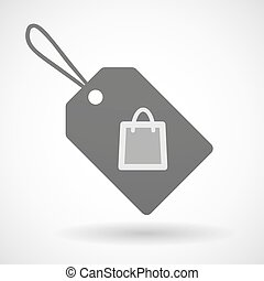 Shopping label icon with a shopping bag
