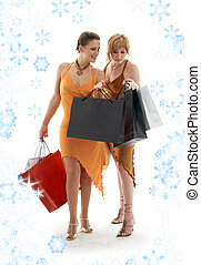 shopping ladies with snowflakes