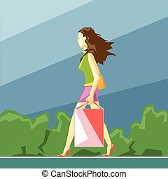 Shopping lady in green and pink clo