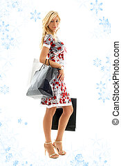 shopping lady with snowflakes