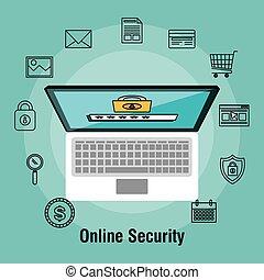 shopping, laptop, protezione, linea, sicurezza, dati