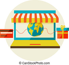 shopping., laptop, telefone, venda, awning., online, esperto