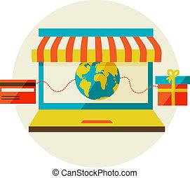 shopping., laptop, telefono, vendita, awning., linea, far male