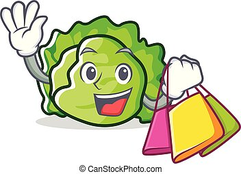 Shopping lettuce character cartoon style