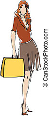 shopping lifestyle - Woman holding shopping bags