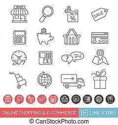 Shopping Line Icon Set - Internet Shopping Icon Set for...