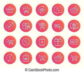 Shopping line icons. Gifts, Presents and Sale.
