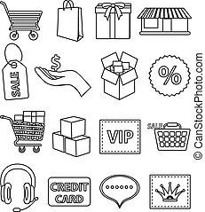 shopping line icons set