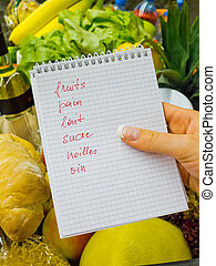 shopping list at the grocery store (french)