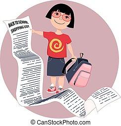 Shopping list - Cute cartoon girl holding a very long back...