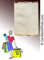 Shopping list - Illustration of happy shopping lady with ...
