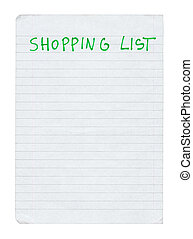 shopping list isolated on pure white background
