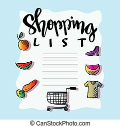 Shopping list on blue background.