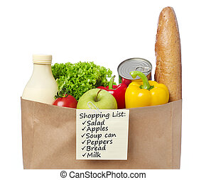 Shopping list on groceries bag