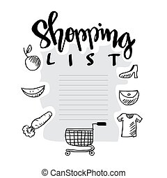 Shopping list on white background.