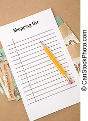 Shopping List and buying plan