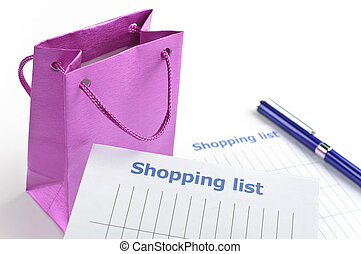 Shopping list with gift bag for your Xmas