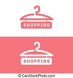Shopping logo. Online store vector logo. Hanger sign. Hanger...
