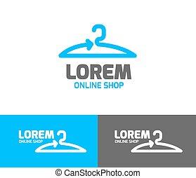 Shopping logo. Online store vector logo. Hanger sign. Hanger pictogram with text.