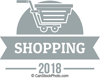 Shopping logo, simple gray style