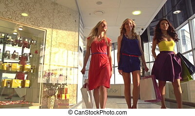 Shopping lovers - Group of friendly females chatting while...