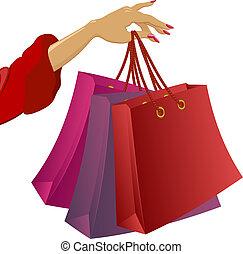 shopping:, mão mulher, sacolas